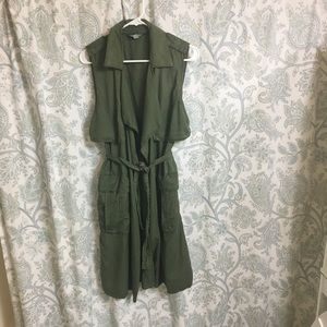 Zara Duster Long Olive Green Waist Tie Size Medium